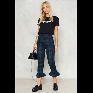 NWT Nasty Gal Cute Retro Plaid/Tartan Ruffle Pants